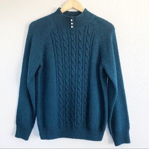 Vintage 90s Teal Blue Knit Mock Neck Sweater Small